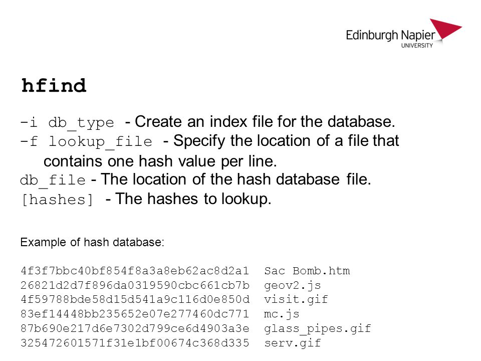 hfind -i db_type - Create an index file for the database.