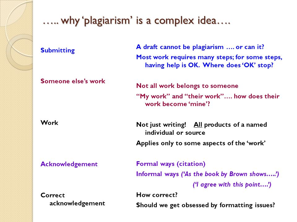 ….. why 'plagiarism' is a complex idea…. Submitting Someone else's work Work Acknowledgement Correct acknowledgement A draft cannot be plagiarism …. o