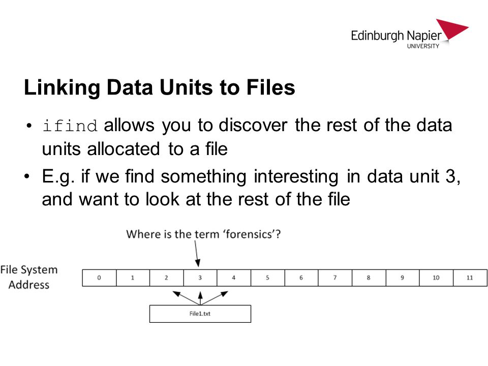 Linking Data Units to Files ifind allows you to discover the rest of the data units allocated to a file E.g.