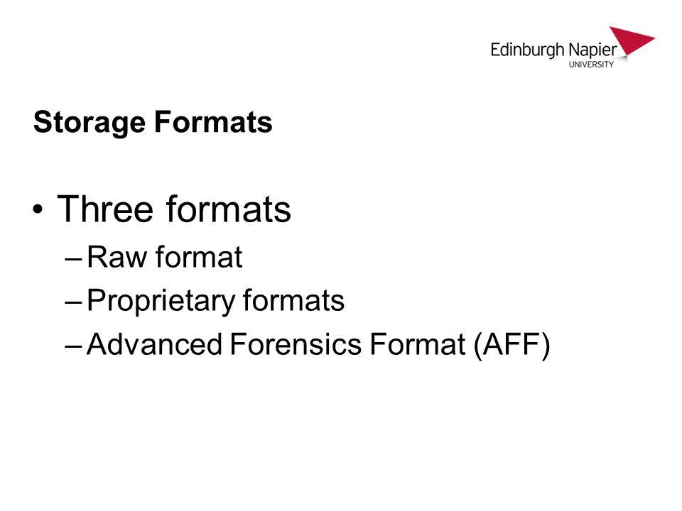 Storage Formats Three formats –Raw format –Proprietary formats –Advanced Forensics Format (AFF)