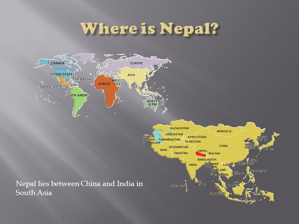 Nepal lies between China and India in South Asia