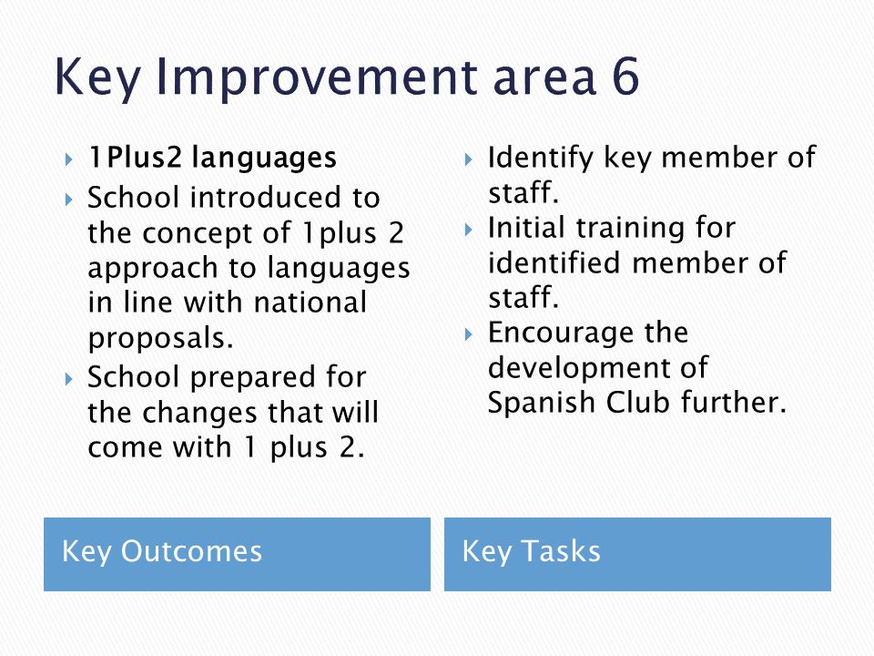 Key OutcomesKey Tasks  1Plus2 languages  School introduced to the concept of 1plus 2 approach to languages in line with national proposals.  School