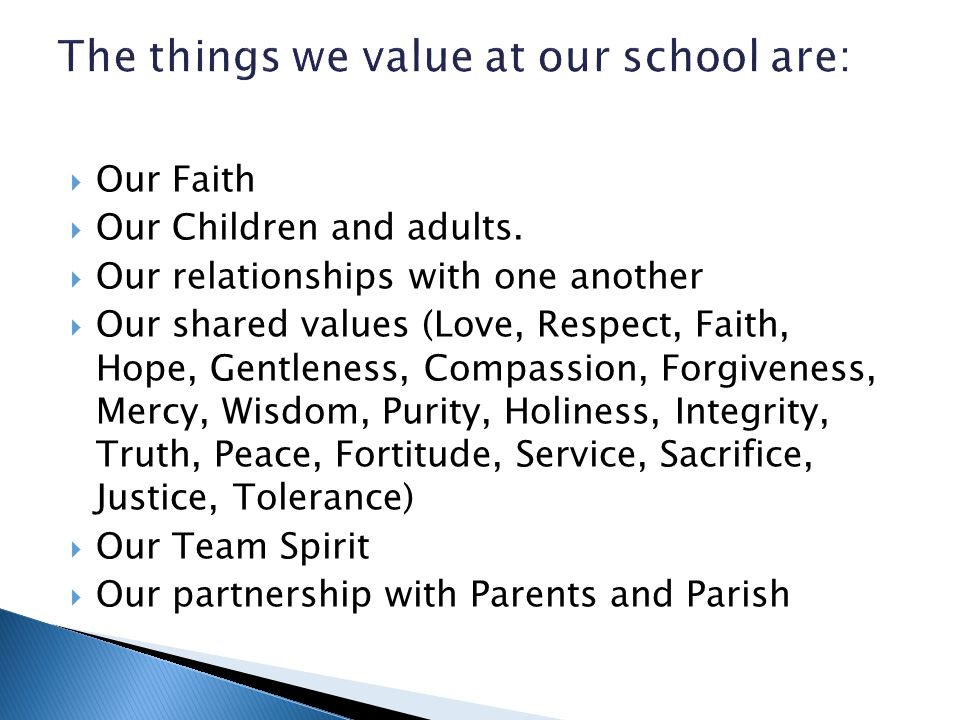  Our Faith  Our Children and adults.  Our relationships with one another  Our shared values (Love, Respect, Faith, Hope, Gentleness, Compassion, F