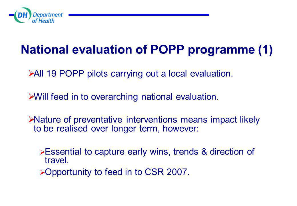National evaluation of POPP programme (1)  All 19 POPP pilots carrying out a local evaluation.