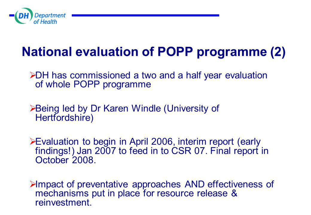 National evaluation of POPP programme (2)  DH has commissioned a two and a half year evaluation of whole POPP programme  Being led by Dr Karen Windle (University of Hertfordshire)  Evaluation to begin in April 2006, interim report (early findings!) Jan 2007 to feed in to CSR 07.