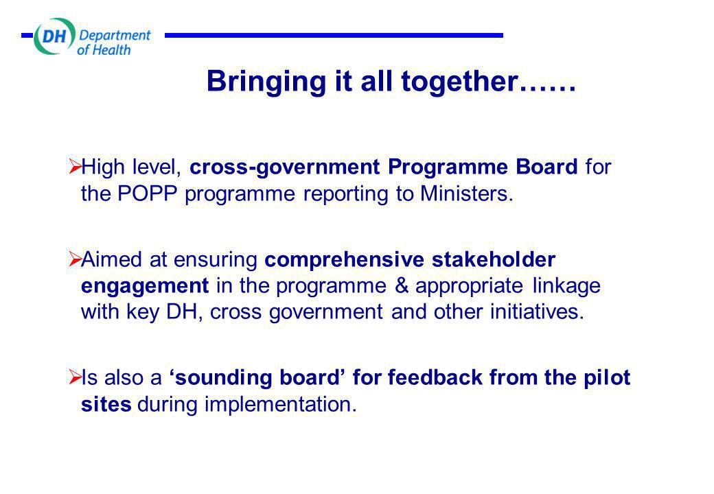 Bringing it all together……  High level, cross-government Programme Board for the POPP programme reporting to Ministers.
