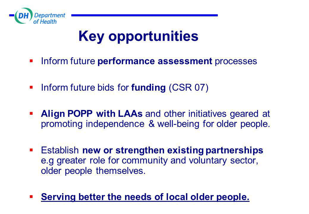 Key opportunities  Inform future performance assessment processes  Inform future bids for funding (CSR 07)  Align POPP with LAAs and other initiatives geared at promoting independence & well-being for older people.