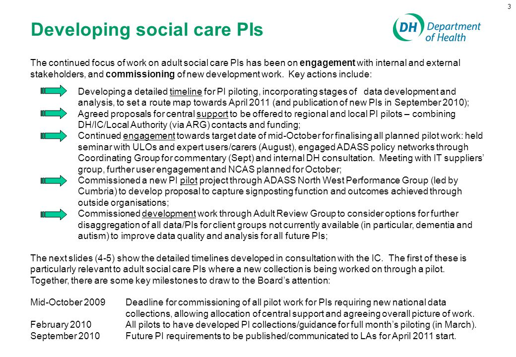 3 Developing social care PIs The continued focus of work on adult social care PIs has been on engagement with internal and external stakeholders, and