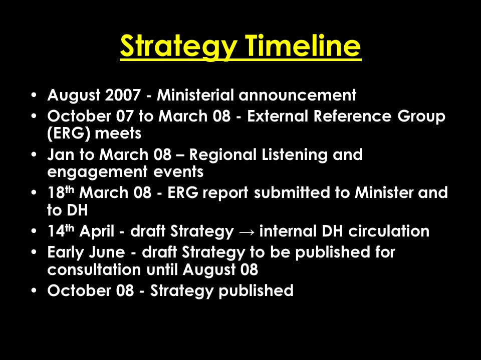 Add date of event here CSIP Region logo here Strategy Timeline August 2007 - Ministerial announcement October 07 to March 08 - External Reference Grou