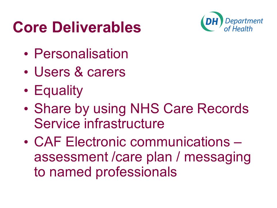Core Deliverables Personalisation Users & carers Equality Share by using NHS Care Records Service infrastructure CAF Electronic communications – assessment /care plan / messaging to named professionals