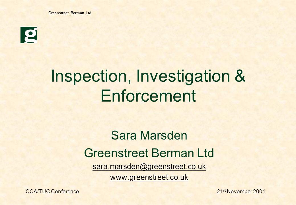 CCA/TUC Conference21 st November 2001 Greenstreet Berman Ltd Inspecting consultation - 1 Assessing consultation Standards for consultation.