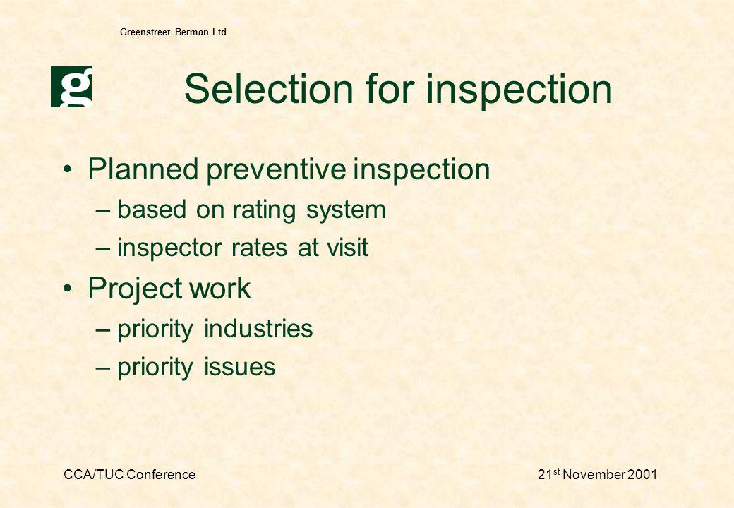 CCA/TUC Conference21 st November 2001 Greenstreet Berman Ltd Possible outcomes advice, letter enforcement notice –e.g.