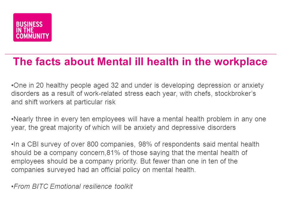 The facts about Mental ill health in the workplace One in 20 healthy people aged 32 and under is developing depression or anxiety disorders as a resul