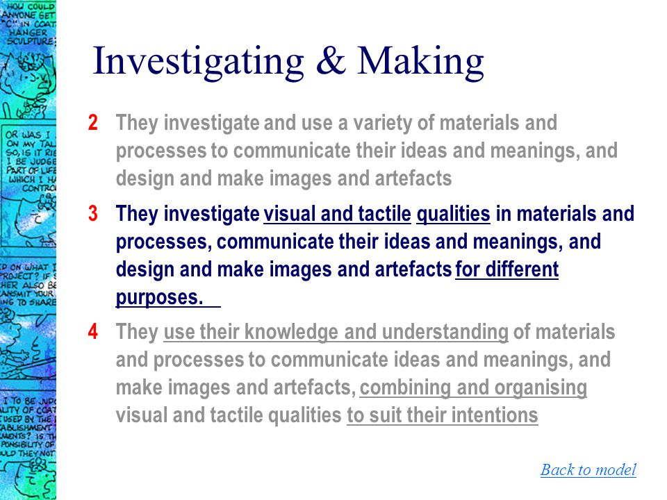 Investigating & Making 2They investigate and use a variety of materials and processes to communicate their ideas and meanings, and design and make ima