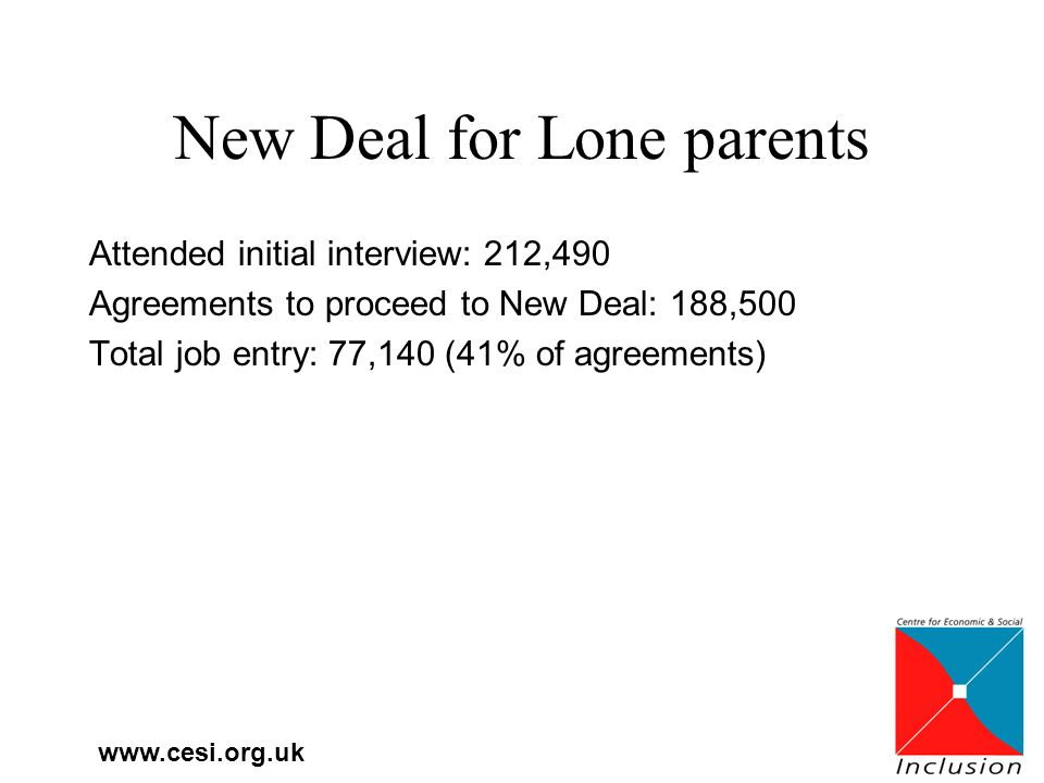 www.cesi.org.uk New Deal for Lone parents Attended initial interview: 212,490 Agreements to proceed to New Deal: 188,500 Total job entry: 77,140 (41% of agreements)
