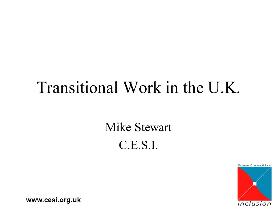 www.cesi.org.uk Transitional Work in the U.K. Mike Stewart C.E.S.I.