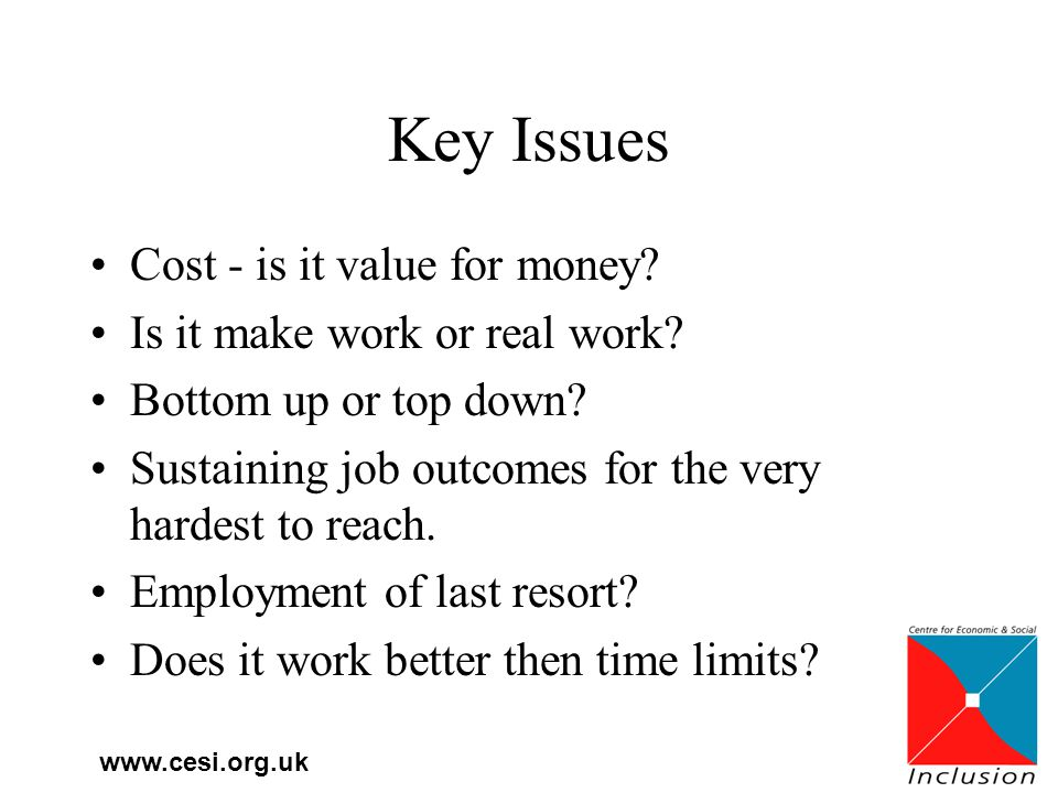 www.cesi.org.uk Key Issues Cost - is it value for money.
