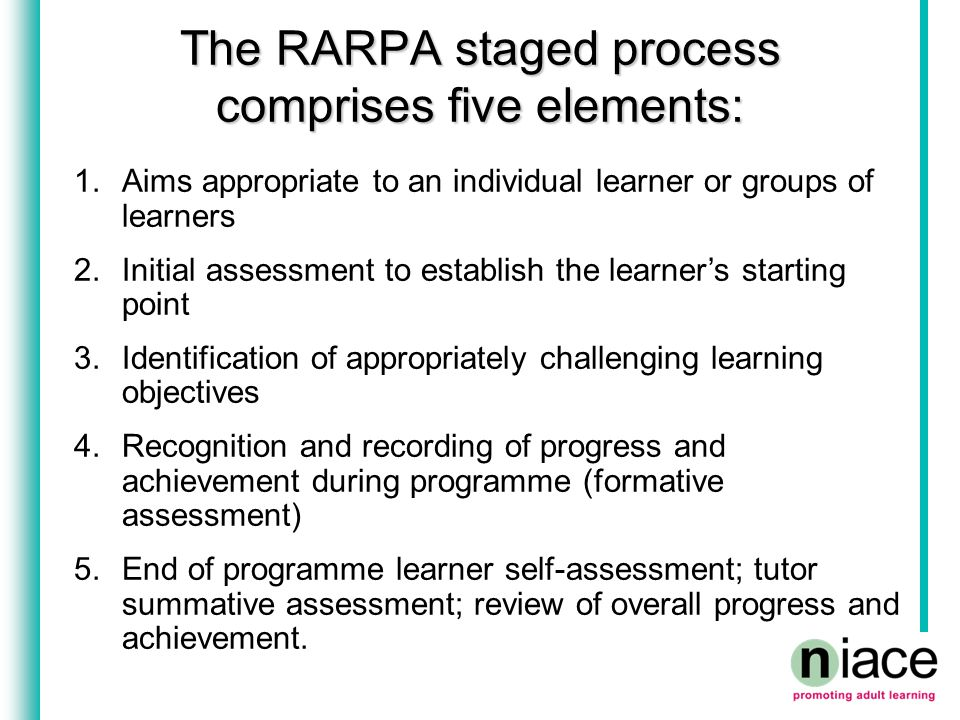 The staged process has been designed to: staged process staged process Promote and support informed learner self-assessment, peer assessment and dialogue about learning and achievement between learners and tutors/trainers; Enable both the achievement of planned learning objectives and learning outcomes not specified at the outset to be recognised and valued; Promote good practice in teaching, learning and assessment Enhance providers' quality assurance and improvement practices.