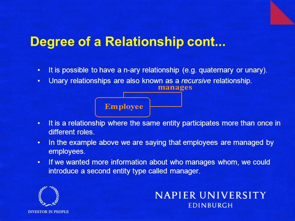 Degree of a Relationship cont...It is possible to have a n-ary relationship (e.g.