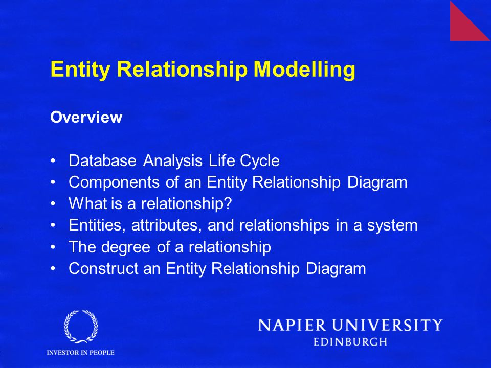 Entity Relationship Modelling Overview Database Analysis Life Cycle Components of an Entity Relationship Diagram What is a relationship.