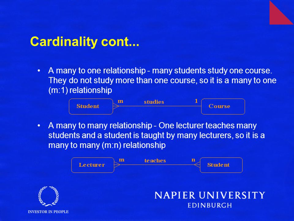 Cardinality cont...A many to one relationship - many students study one course.