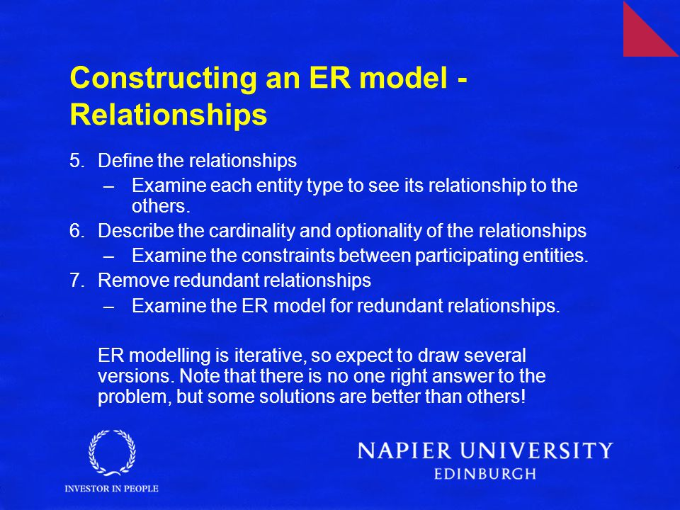 Constructing an ER model - Relationships 5.Define the relationships –Examine each entity type to see its relationship to the others.