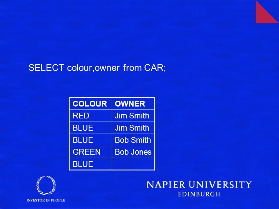 SELECT colour,owner from CAR; COLOUROWNER REDJim Smith BLUEJim Smith BLUEBob Smith GREENBob Jones BLUE
