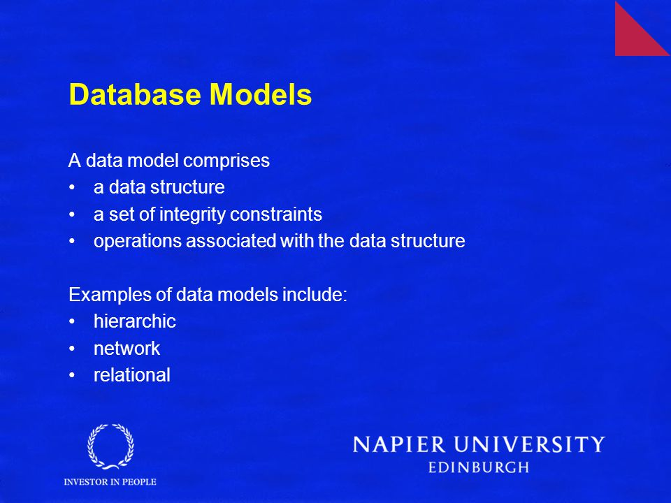 Relational Databases The relational data model comprises: relational data structure relational integrity constraints relational algebra or equivalent (SQL) –SQL is an ISO language based on relational algebra –relational algebra is a mathematical formulation