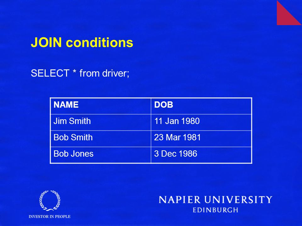 JOIN conditions SELECT * from driver; NAMEDOB Jim Smith11 Jan 1980 Bob Smith23 Mar 1981 Bob Jones3 Dec 1986