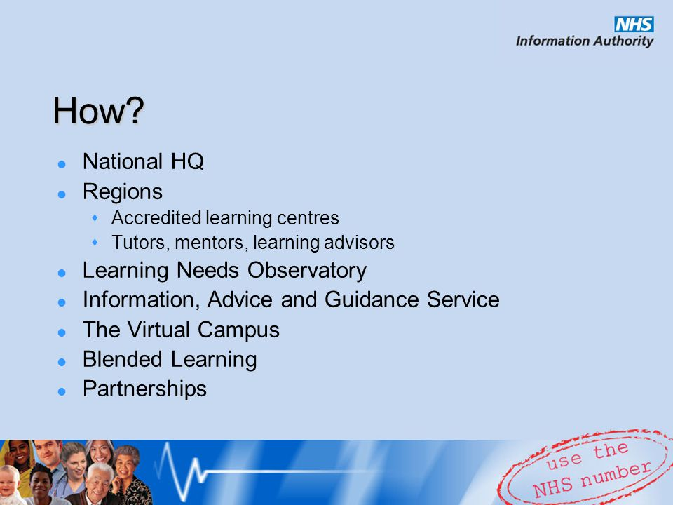 Faculty of Healthcare Information and Knowledge School of Information, Knowledge and Personal Development Standards and accreditation Learning and development  Finding out what's available  Information Academy  Workshops, seminars and conferences  ECDL health specific modules Applied research & publications E-community – VBL in HI within NELH