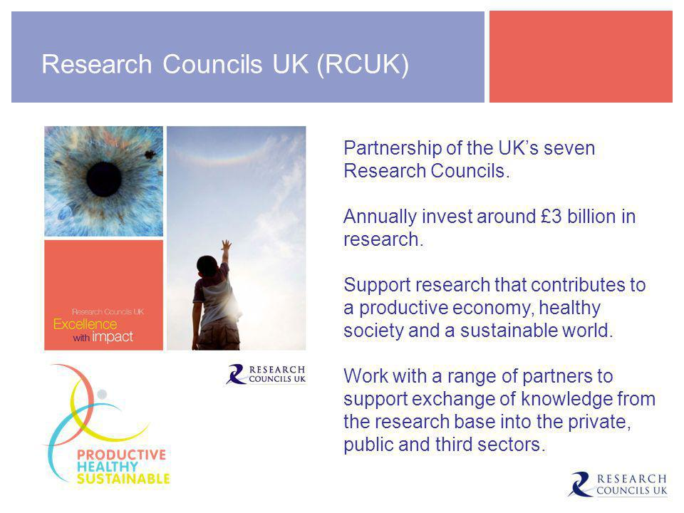 Research Councils UK (RCUK) Partnership of the UK's seven Research Councils.