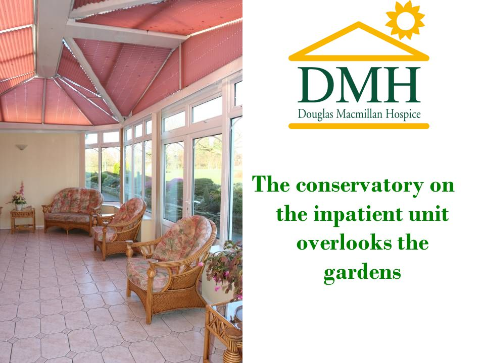 The conservatory on the inpatient unit overlooks the gardens