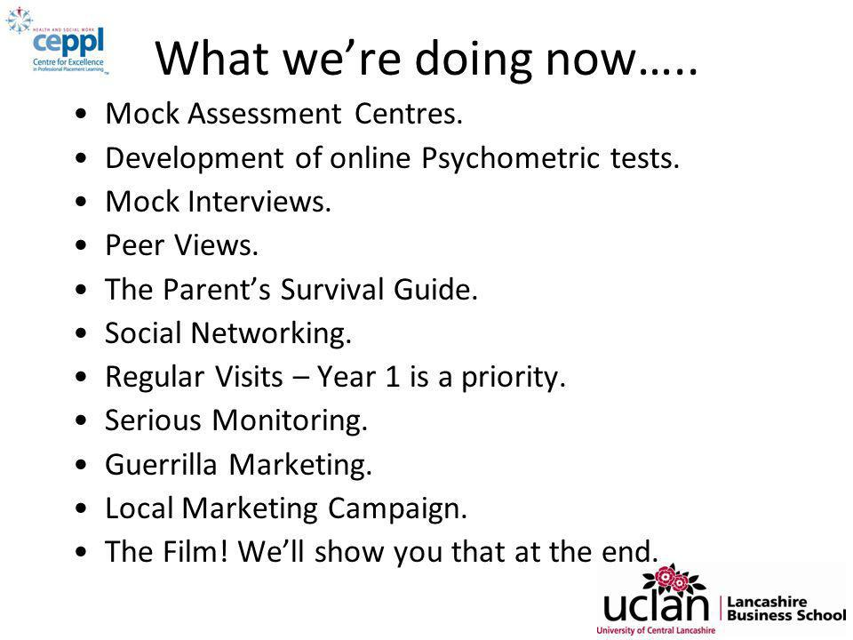 What we're doing now….. Mock Assessment Centres. Development of online Psychometric tests.