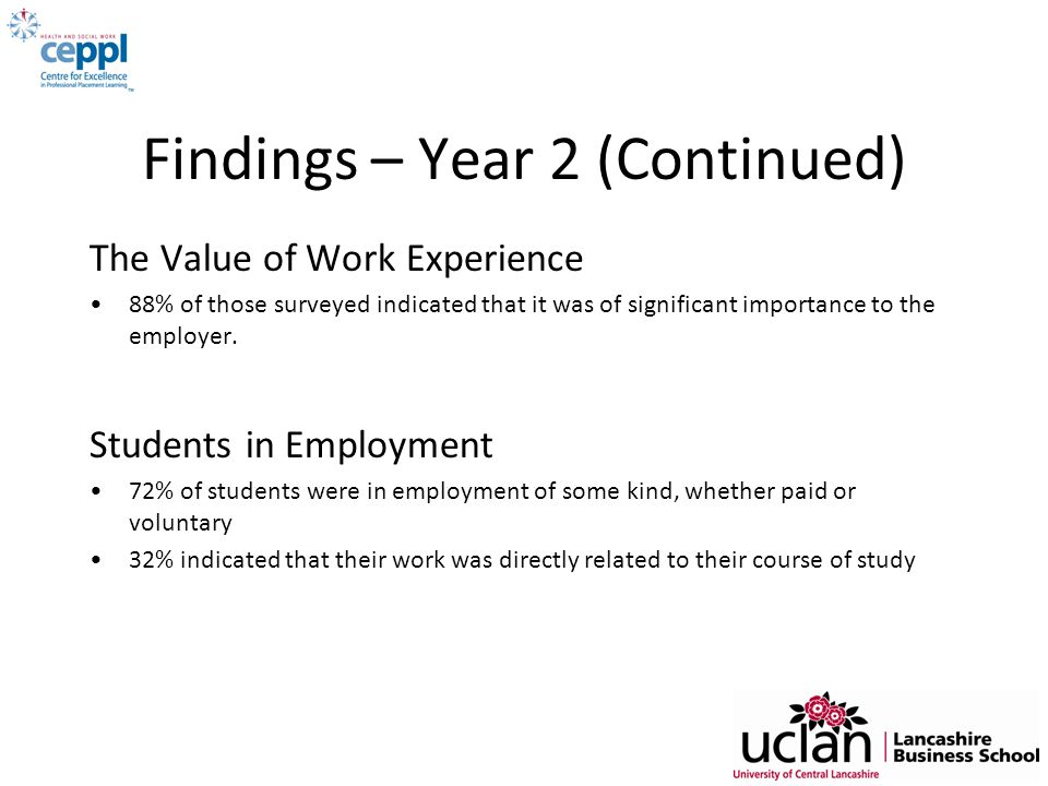 Findings – Year 2 (Continued) The Value of Work Experience 88% of those surveyed indicated that it was of significant importance to the employer. Stud
