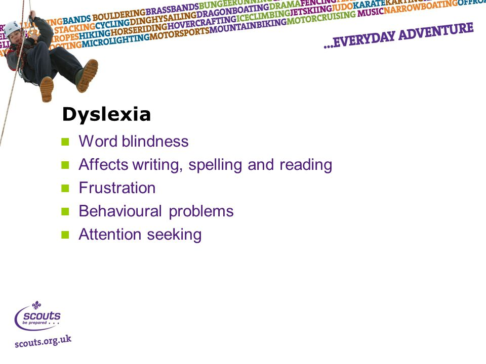 Dyslexia Word blindness Affects writing, spelling and reading Frustration Behavioural problems Attention seeking
