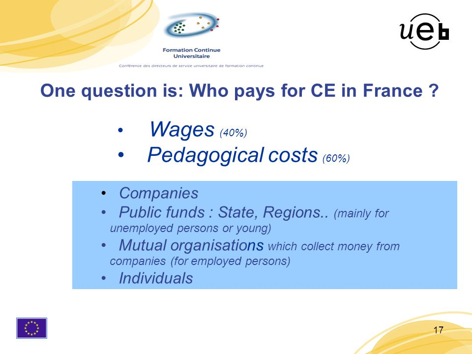 17 Wages (40%) Pedagogical costs (60%) One question is: Who pays for CE in France .