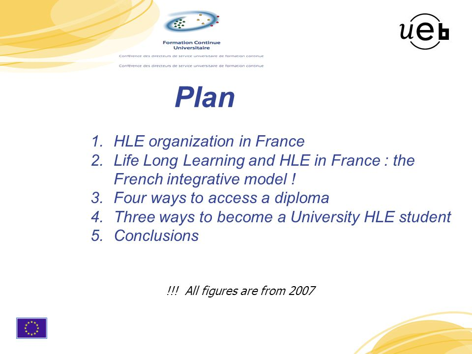 4 Plan 1.HLE organization in France 2.Life Long Learning and HLE in France : the French integrative model .