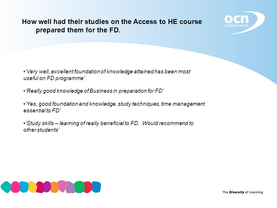 How well had their studies on the Access to HE course prepared them for the FD.