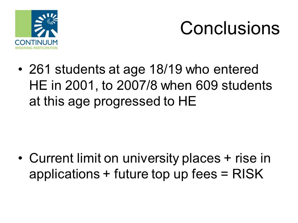 Conclusions 261 students at age 18/19 who entered HE in 2001, to 2007/8 when 609 students at this age progressed to HE Current limit on university pla