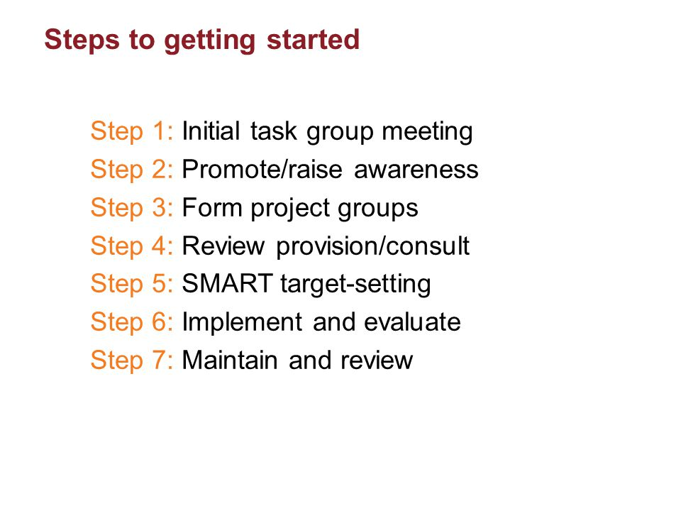 Steps to getting started Step 1: Initial task group meeting Step 2: Promote/raise awareness Step 3: Form project groups Step 4: Review provision/consu