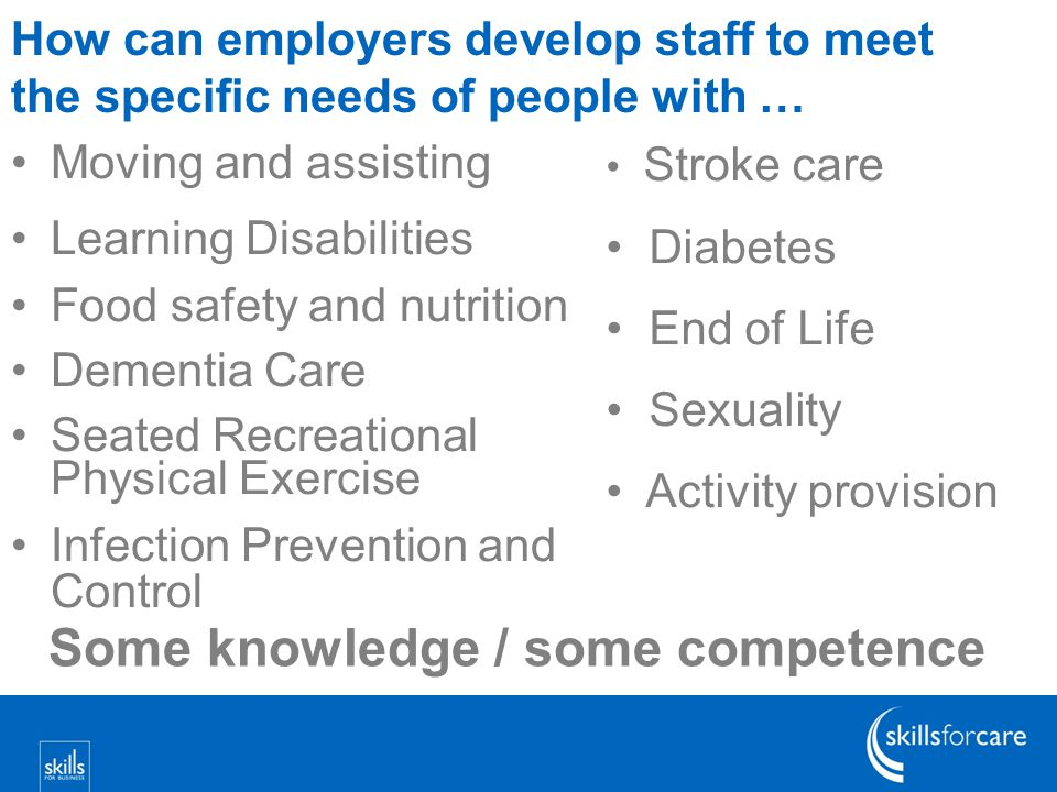 How can employers develop staff to meet the specific needs of people with … Moving and assisting Learning Disabilities Food safety and nutrition Dementia Care Seated Recreational Physical Exercise Infection Prevention and Control Stroke care Diabetes End of Life Sexuality Activity provision Some knowledge / some competence