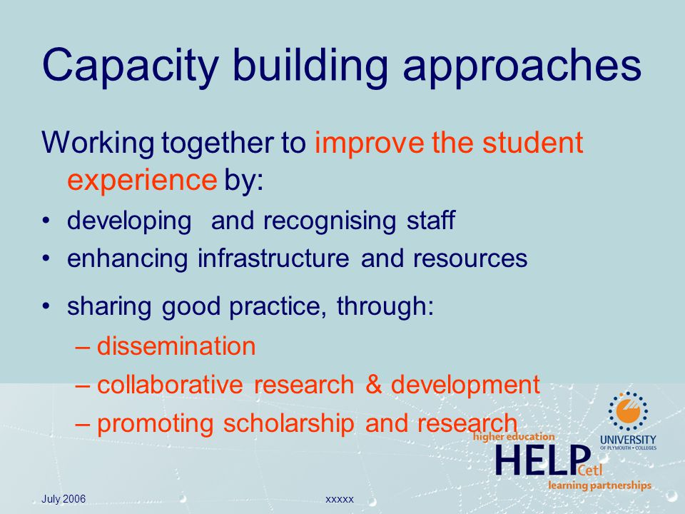 July 2006xxxxx Capacity building approaches Working together to improve the student experience by: developing and recognising staff enhancing infrastructure and resources sharing good practice, through: –dissemination –collaborative research & development –promoting scholarship and research