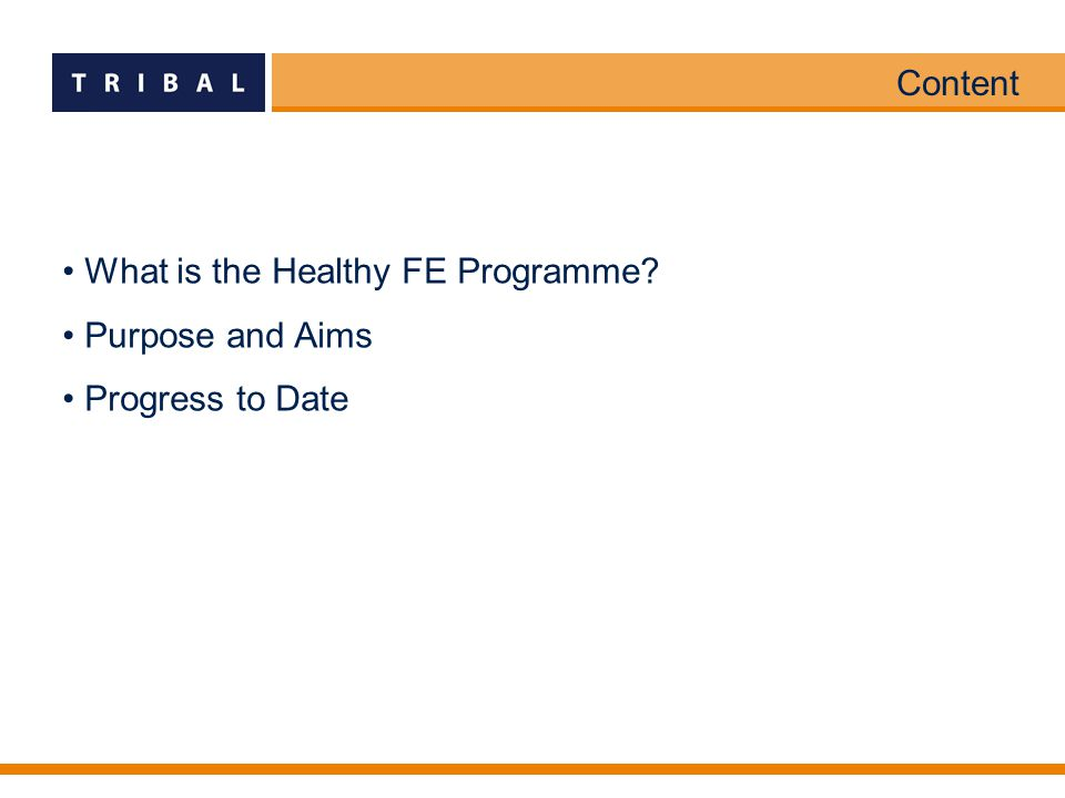 Content What is the Healthy FE Programme? Purpose and Aims Progress to Date