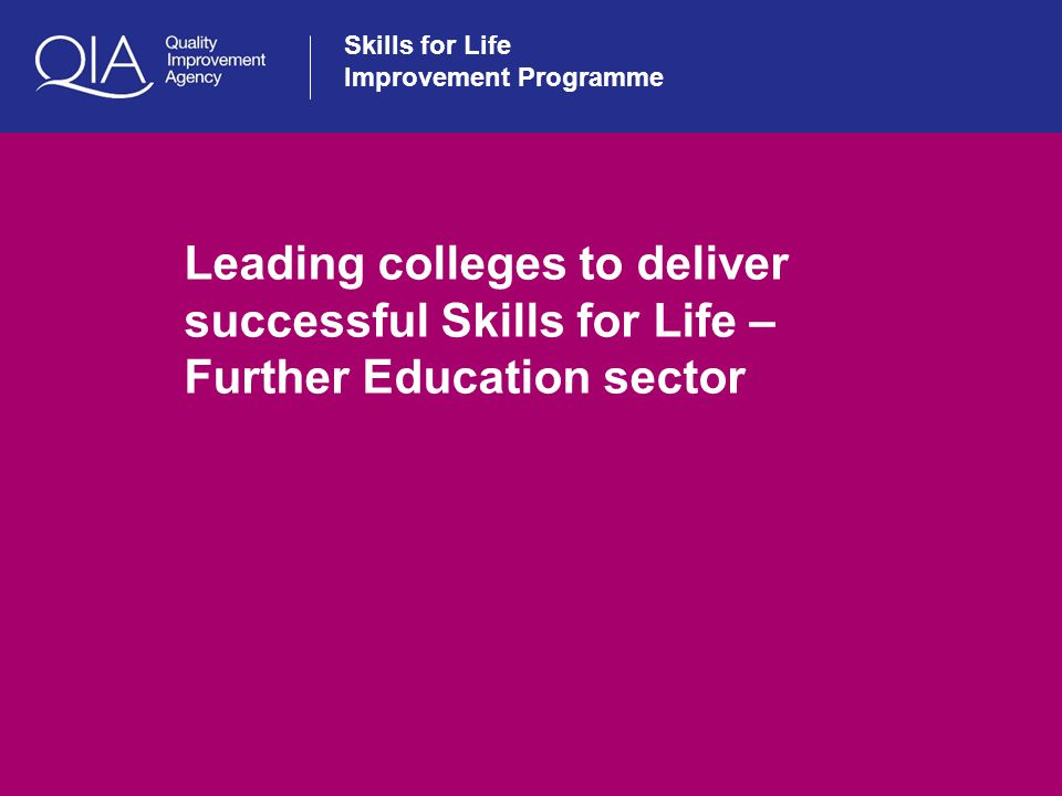 Skills for Life Improvement Programme Leading colleges to deliver successful Skills for Life – Further Education sector