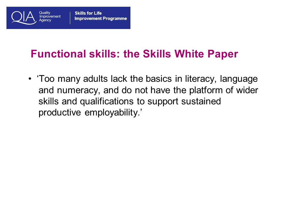 Skills for Life Improvement Programme Functional skills: the Skills White Paper 'Too many adults lack the basics in literacy, language and numeracy, and do not have the platform of wider skills and qualifications to support sustained productive employability.'
