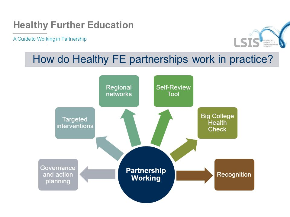 Healthy Further Education A Guide to Working in Partnership Partnership Working Governance and action planning Targeted interventions Regional network
