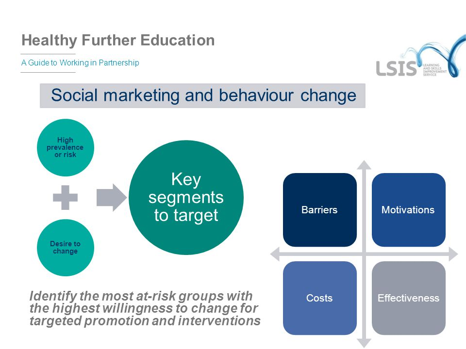 Healthy Further Education A Guide to Working in Partnership Social marketing and behaviour change High prevalence or risk Desire to change Key segment