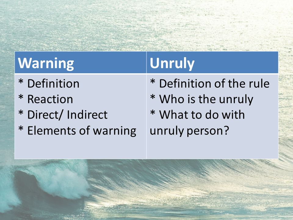 WarningUnruly * Definition * Reaction * Direct/ Indirect * Elements of warning * Definition of the rule * Who is the unruly * What to do with unruly person