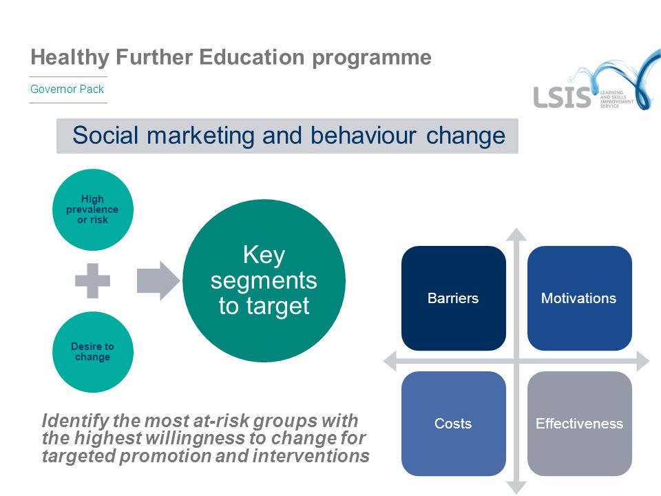 Healthy Further Education programme Governor Pack Social marketing and behaviour change High prevalence or risk Desire to change Key segments to targe