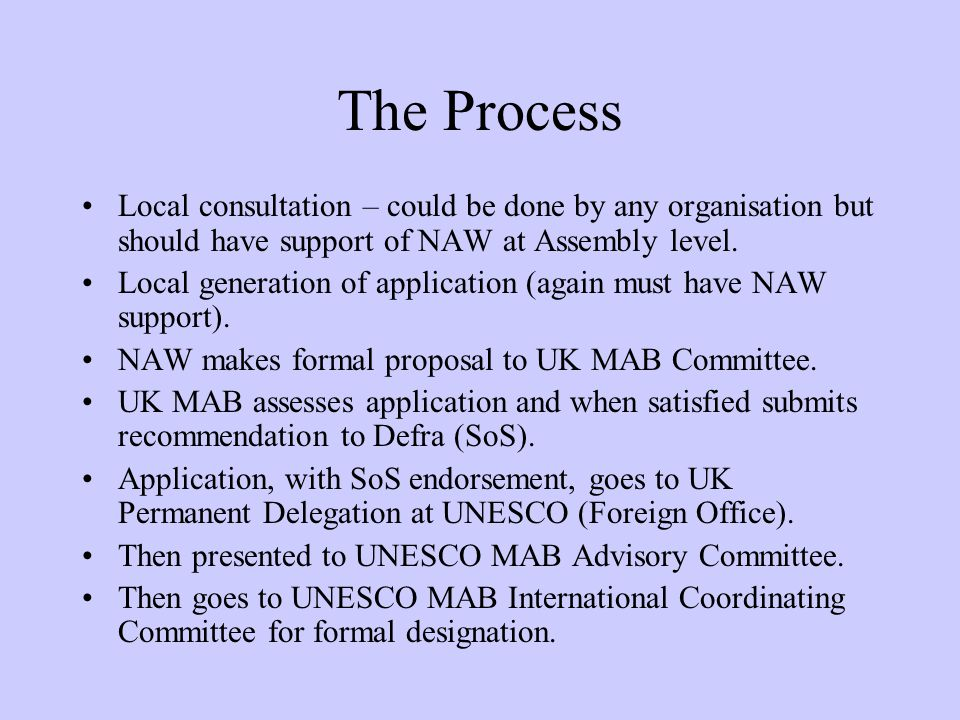 The Process Local consultation – could be done by any organisation but should have support of NAW at Assembly level.